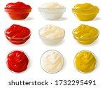sauces ketchup mayonnaise... | Shutterstock .eps vector #1732295491