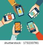 concept for mobile apps  flat... | Shutterstock .eps vector #173233781