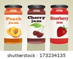 set of jars with berry jam | Shutterstock .eps vector #173234135