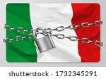 the metal chain and padlock... | Shutterstock .eps vector #1732345291