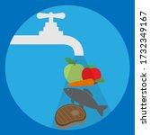 washing vegetables  fruits ... | Shutterstock .eps vector #1732349167