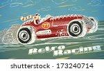 retro racing car poster...