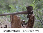 Axe Tool With Axe Head Resting...