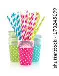 Colorful Paper Cups And Stripe...