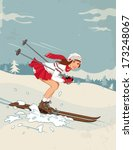 Winter Sport Poster In Retro...