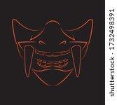 mempo mask line art illustration | Shutterstock .eps vector #1732498391