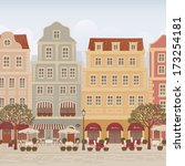 old town street with cafes and... | Shutterstock .eps vector #173254181