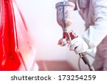 close up of spray gun with red... | Shutterstock . vector #173254259