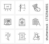 set of 9 ui icons and symbols... | Shutterstock .eps vector #1732564001