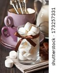 Sweet ingredients for hot chocolate close-up. - stock photo
