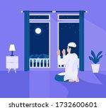 vector illustration of muslim... | Shutterstock .eps vector #1732600601