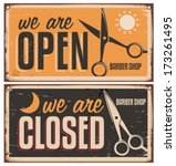 Retro door signs for barber shop. Vintage metal sign set with scissors. Creative vector sign design on old and rusty background.