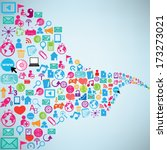 social network background with... | Shutterstock .eps vector #173273021
