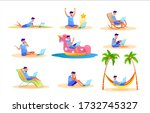young man freelancer in... | Shutterstock .eps vector #1732745327