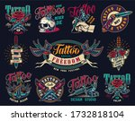 tattoo studio colorful vintage... | Shutterstock . vector #1732818104