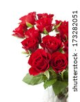 Stock photo bouquet of red roses on white background 173282051
