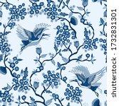 classic blue crane birds and... | Shutterstock .eps vector #1732831301