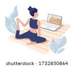 yoga studios streaming online...   Shutterstock .eps vector #1732850864