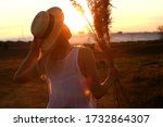 Silhouette Of Blonde Girl On...