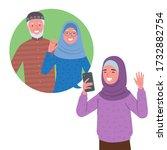 a muslim girl wearing a hijab...   Shutterstock .eps vector #1732882754