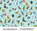 seamless pattern with cats...   Shutterstock .eps vector #1732930427