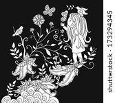 girl reaching for a butterfly | Shutterstock .eps vector #173294345