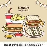 delicious lunch collection ... | Shutterstock .eps vector #1733011157