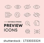 thin line icon set of preview...