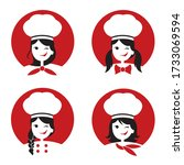 collection of chef woman icon... | Shutterstock .eps vector #1733069594