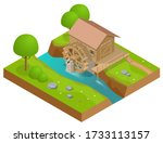 Isometric Wooden Water Mill....