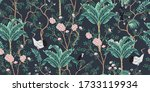 vintage garden tree  banana... | Shutterstock .eps vector #1733119934