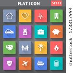 Vector application Insurance Icons set in flat style with long shadows.