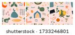 hand drawn various shapes and... | Shutterstock .eps vector #1733246801