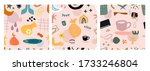 hand drawn various shapes and... | Shutterstock .eps vector #1733246804