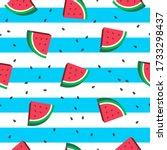 watermelon seamless pattern... | Shutterstock .eps vector #1733298437