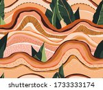 trendy landscape pattern with... | Shutterstock .eps vector #1733333174