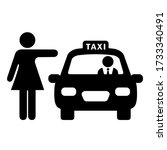 woman hailing taxi cab vector...   Shutterstock .eps vector #1733340491
