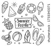 summer doodle hand drawn... | Shutterstock .eps vector #1733343371