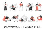 collection of characters...   Shutterstock .eps vector #1733361161