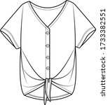 womens top fashion flat sketch. ... | Shutterstock .eps vector #1733382551