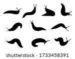 Set Of Black Silhouette Slug...