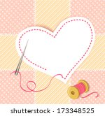patchwork heart with a needle thread. vector illustration