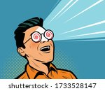 enthusiastic man with glasses... | Shutterstock .eps vector #1733528147