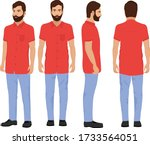indian village man in red shirt ... | Shutterstock .eps vector #1733564051
