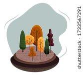 autumn landscape illustration.... | Shutterstock .eps vector #1733567291