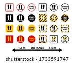 stand here and keep distance... | Shutterstock .eps vector #1733591747