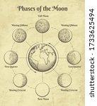 vintage astrology moon. moons...   Shutterstock .eps vector #1733625494