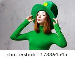Red Hair Girl In Saint Patrick...