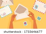 hands holding an opened... | Shutterstock .eps vector #1733646677