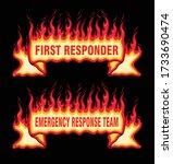 first responder fire flame... | Shutterstock .eps vector #1733690474